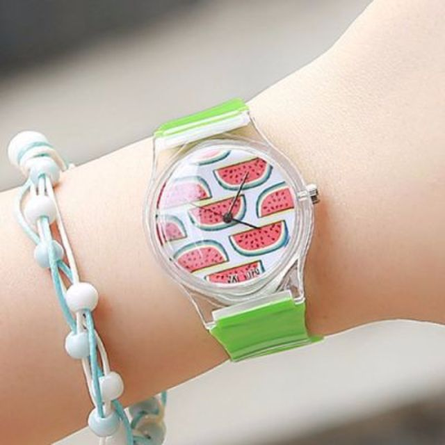Jam Tangan - Watermelon Transparent Watch Red+Green