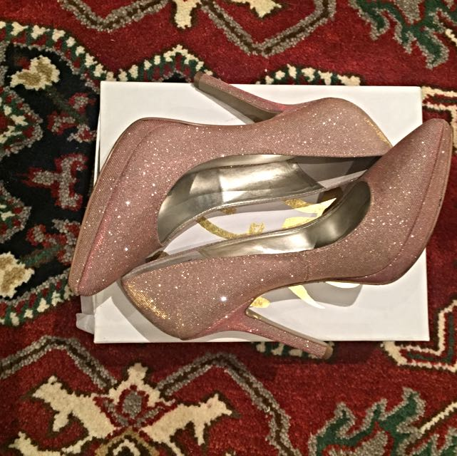 Nine West Pink Sparkly Platform Heels 9