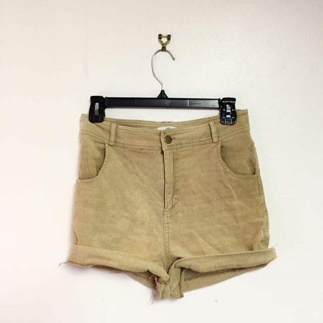 Quirky Circus Corduroy Sand High Waist Shorts