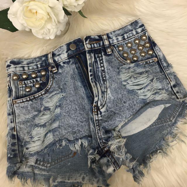 Ripped Studded Denim Shorts