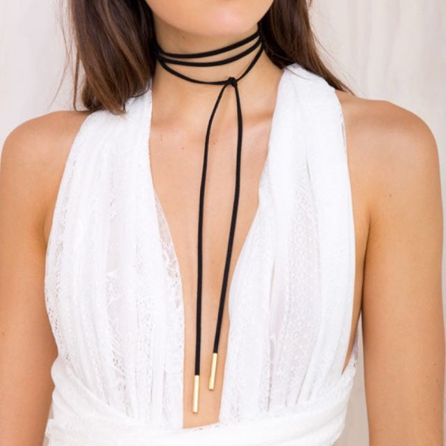 Suede Wrap Choker With Gold Tips