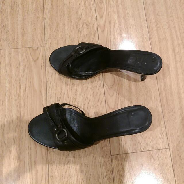 Summer Shoes Black, Small heels - Size 6