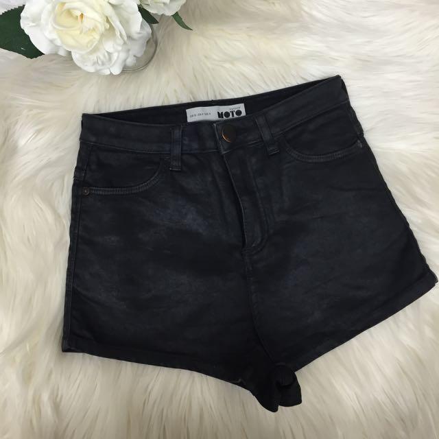 TOPSHOP Wet Look Denim Shorts