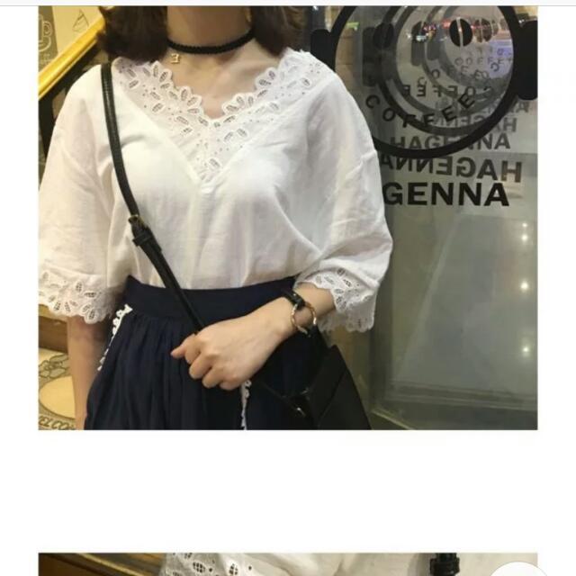 (全新)V領蕾絲上衣(白色)
