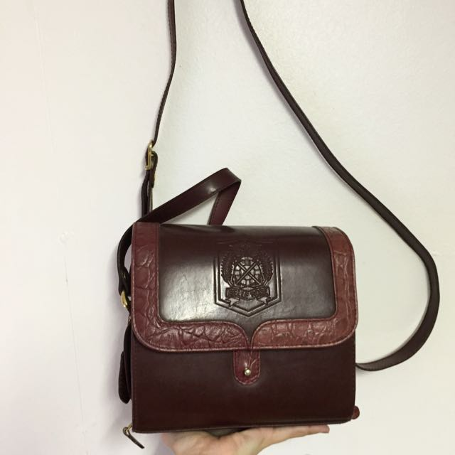 Vintage Brown/Burgundy Belle Rose Bag