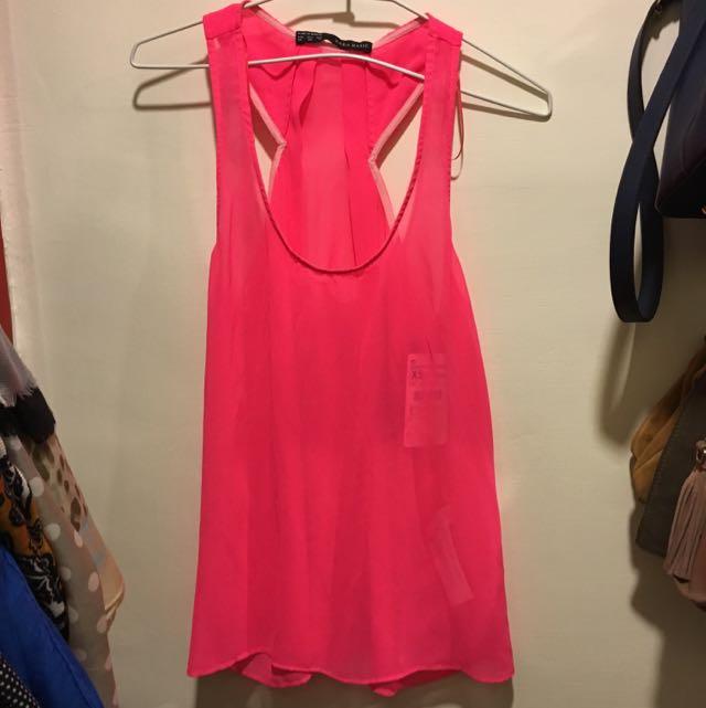 Zara Basic 螢光粉紅雪紡背心