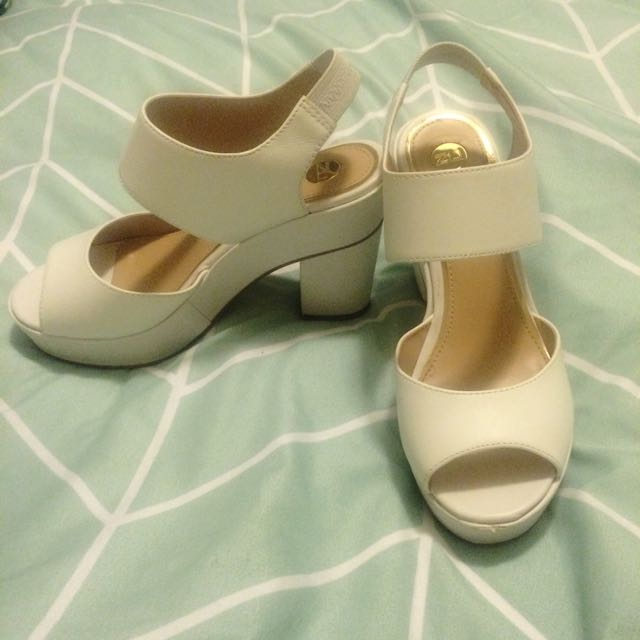 ZU White Chunky Heels *dropped price""