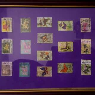 Genuine Framed Malaysian 70s 80s  Flowers And Butterflies Stamp