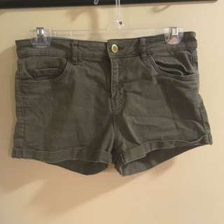 H&M Dark Green Denim Shorts