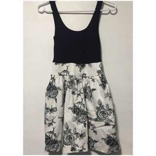 Black And White Rose Printed Dress