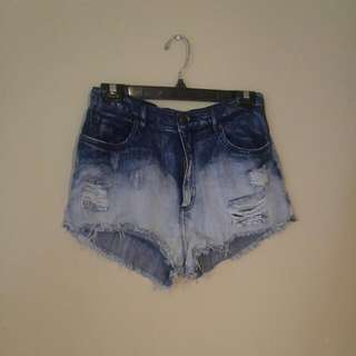 Garage Acid Wash High Waisted Shorts