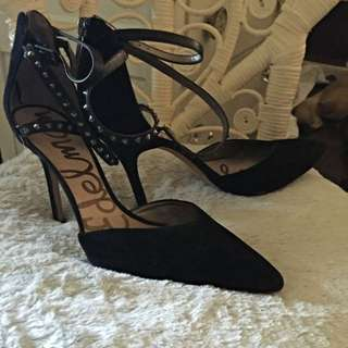 New Sam Edelman Suede Pointed Toe Studded Strap Pumps