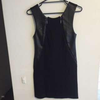 Hunt No More Leather Detail Mini Dress Size: M