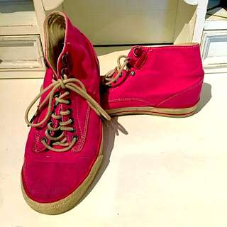 Pink Diesel High Top Running Shoes