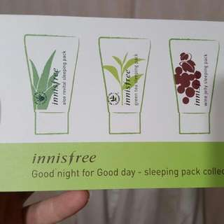 Innisfree晚安面膜三種