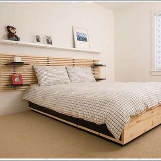 IKEA Mandal Bed Queen Size With Headboard And White Shelves