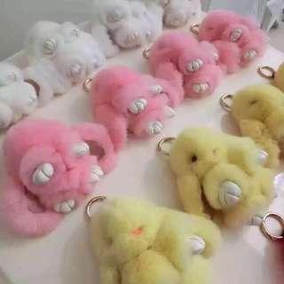 Fendi 3D Cartoon 2016 New key ring Rex Rabbit Key chain 9 Colors Fur Car Backpack Rabbit Doll Pendant Cute Fashion Toys Wallet Handbag Pendant ..