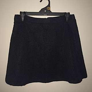 Quilted Black Skater Skirt