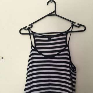 Size 8 Striped Halter Cropped Singlet
