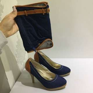 Denim Heels With Detachable Anklets 38