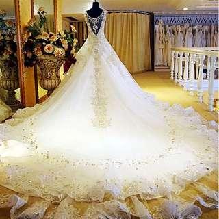 Bandage V Neck wedding Dress