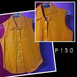 Polo orange sleeveless polo shirt