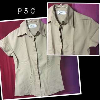 Pre-loved brown office polo top