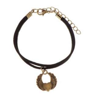 Gelang - Rock Chic Choker Heart Wing Gold Color