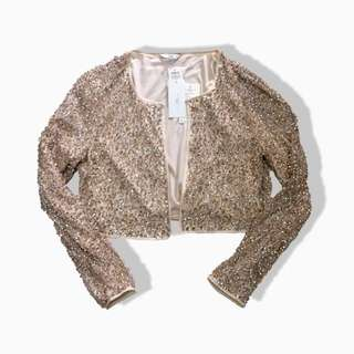 New Look Sequin Rose Gold Crop Outer