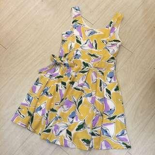 正韓特賣,全新黃色無袖花洋裝