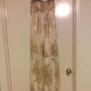Forever New white and gold dress