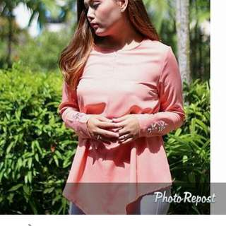 Maya Wrap Top In Peach Frm Natalialabella (NLB)