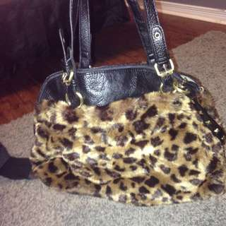 Cute Leopard Faux Fur Fall/winter Bag