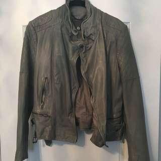 MUUBAA moss Green Leather Biker Jacket