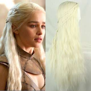 Light Golden Curls Daenerys Targaryen Cosplay Hair Synthetic Wigs game of throne