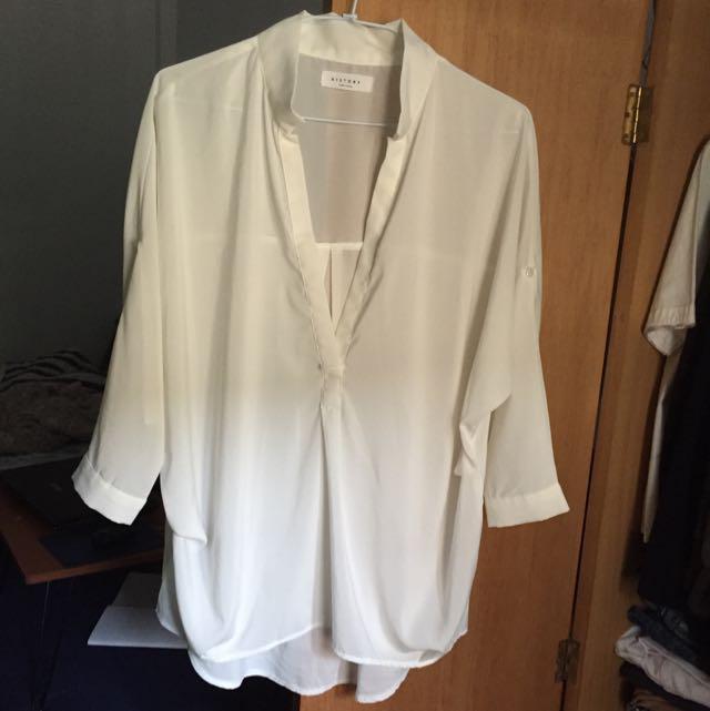 雪紡七分袖立領襯衫