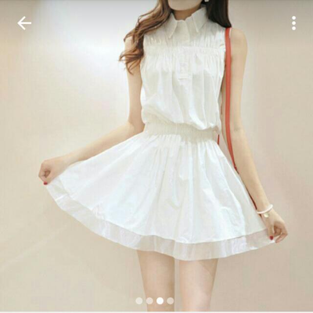 白色 氣質無袖韓連衣洋裝