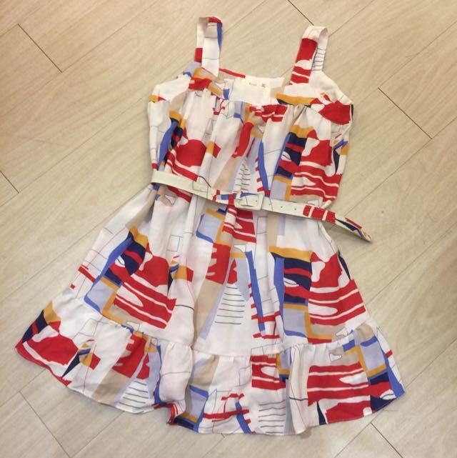 正韓特賣,超美~棉麻紅色幾何腰帶洋裝