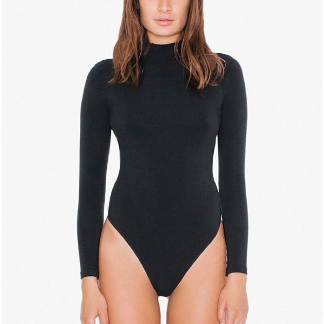 American Apparel Cotton Spandex Mock Neck Cutout 'Ryder' Bodysuit