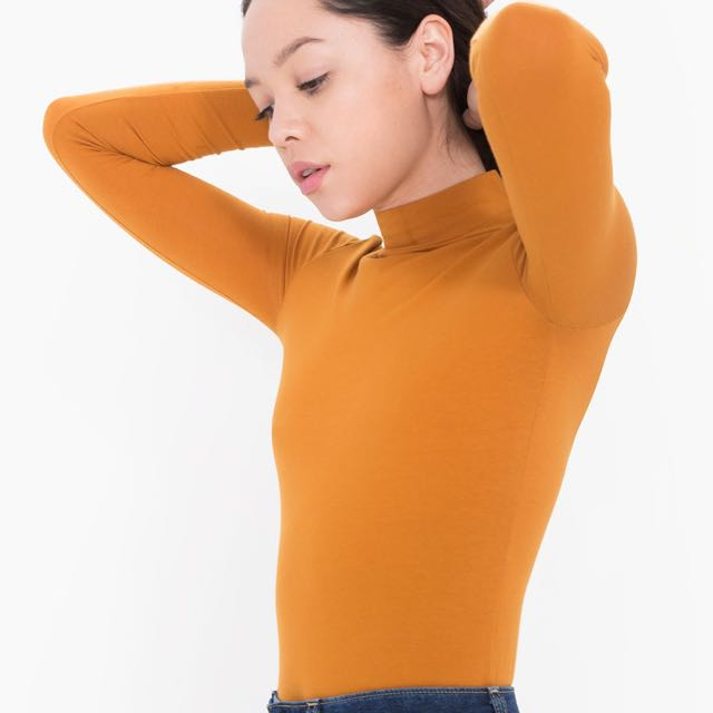 American Apparel Cotton Spandex Turtleneck Top