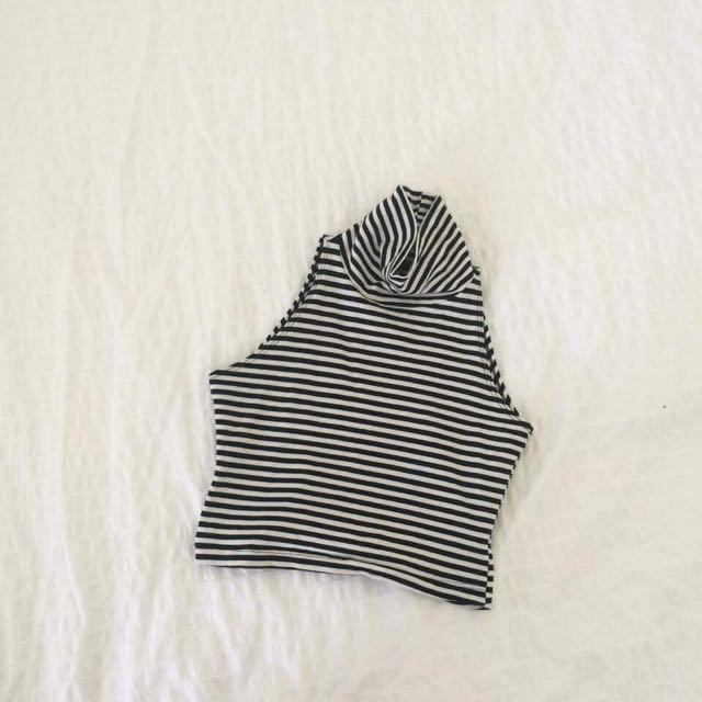 AMERICAN APPAREL Striped Turtleneck Top