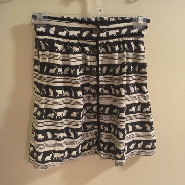 Black And White Cat Buttoned Skirt