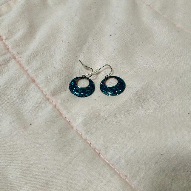 Blue Glittery Earrings