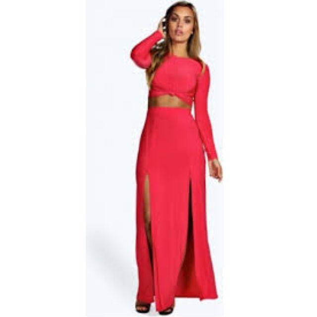 Boohoo Red Front Split Maxi Skirt