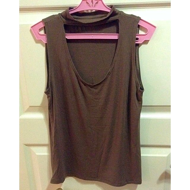 Brown Sleeveless Top