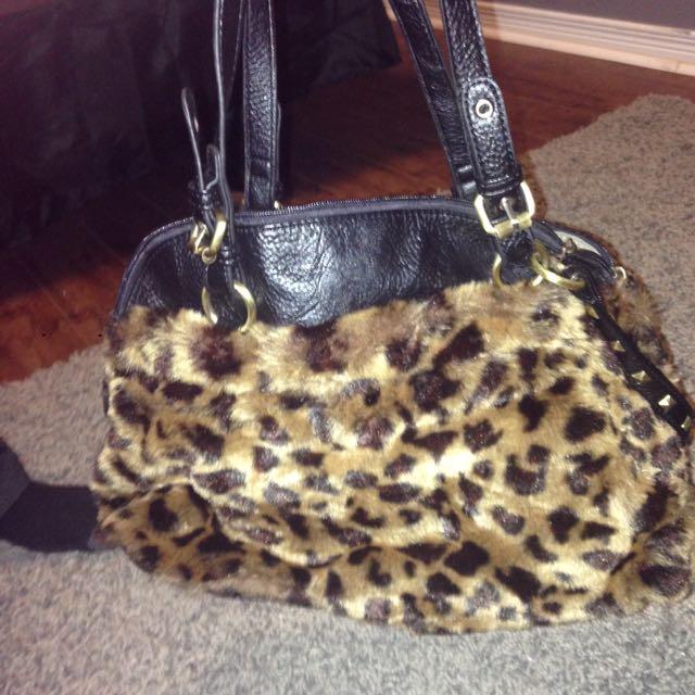 Cute Leopard Faux Fur Fall/winter Bag