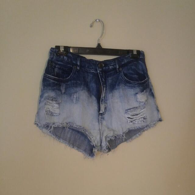 Garage Acid Wash High Waisted Shorts