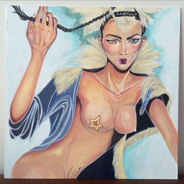 Goldstar (Acrylic Painting On Canvas Board)