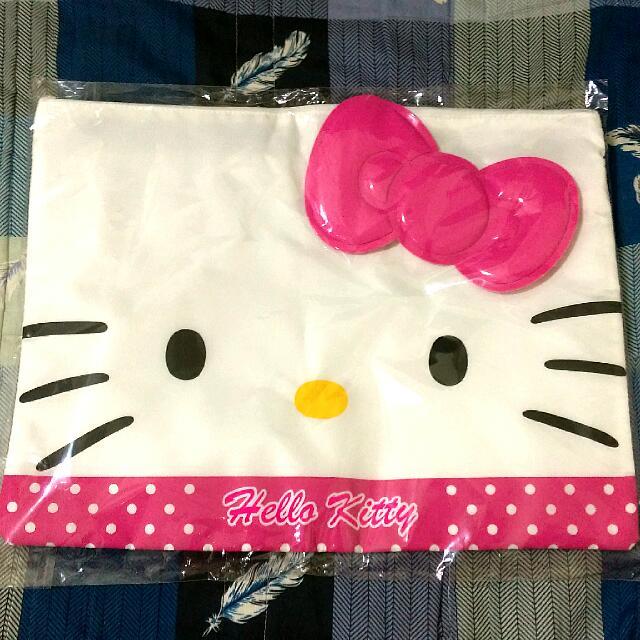Hello Kitty臉型雙拉鍊資料袋(桃粉)