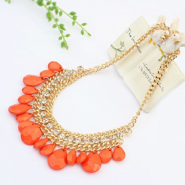 Orange And Gold Necklace